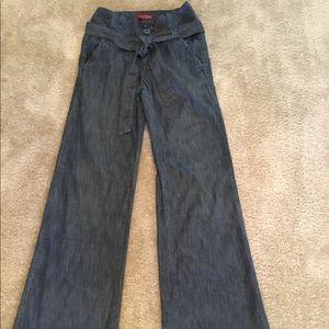 Elegant High Waist Wide Leg Denim Jeans